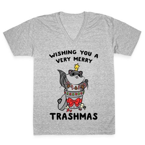 Wishing You A Very Merry Trashmas V-Neck Tee Shirt