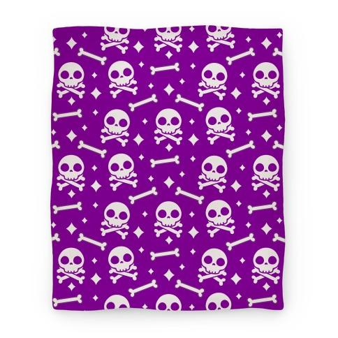 Cute Skull N' Bones Pattern (Purple) Blanket