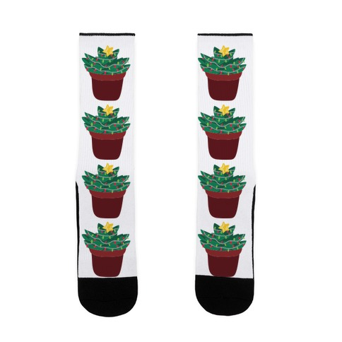Christmas Succulent Pattern Sock