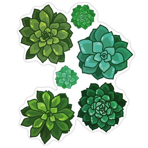 Green Succulent Pattern Die Cut Sticker