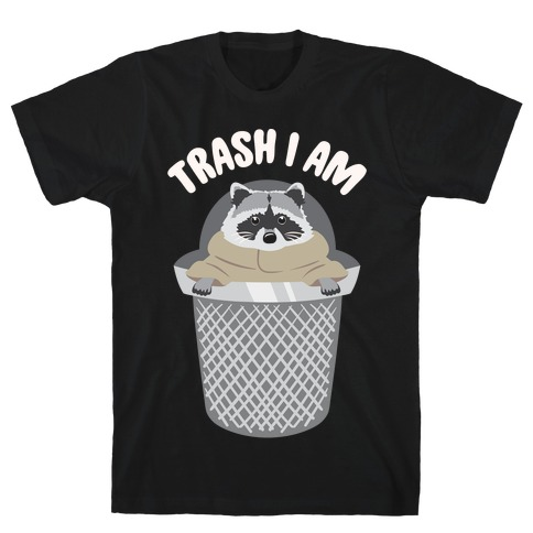 Trash I Am Raccoon Baby Yoda Parody White Print T-Shirt