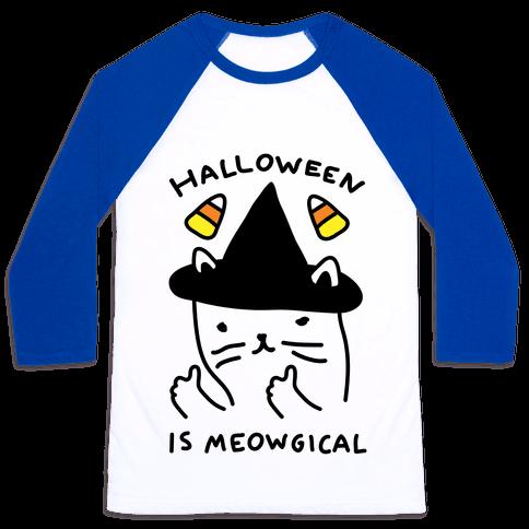 Halloween Is Meowgical Baseball Tee