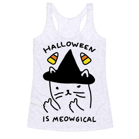 Halloween Is Meowgical Racerback Tank Top