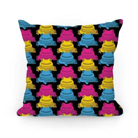 Pansexual Froggie Pattern Pillow