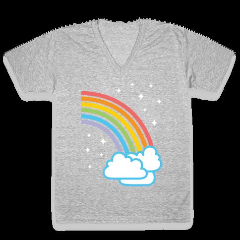 Rainbow Pair 2 (White) V-Neck Tee Shirt