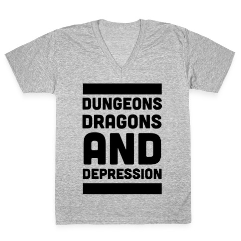 Dungeons, Dragons and Depression V-Neck Tee Shirt