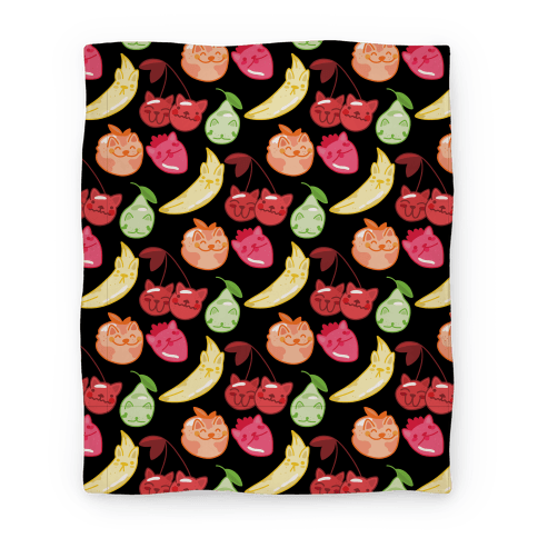 Kawaii Fruit Kitties Pattern Blanket