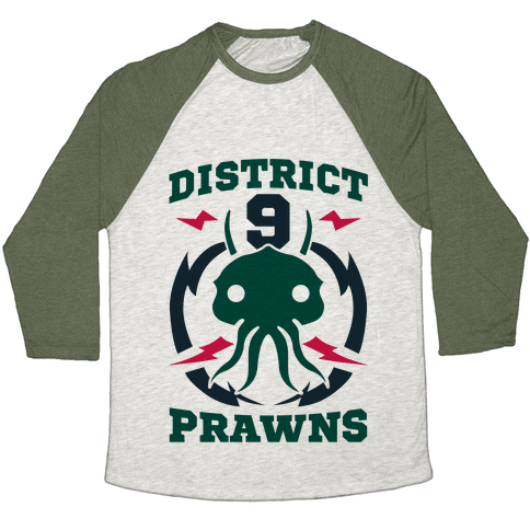 District 9 Prawns (Sports Logo Parody) Baseball Tee
