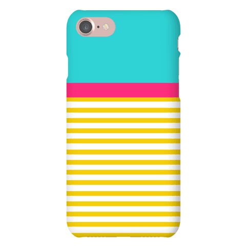 Yellow And Pink Color Block Stripe Phone Case