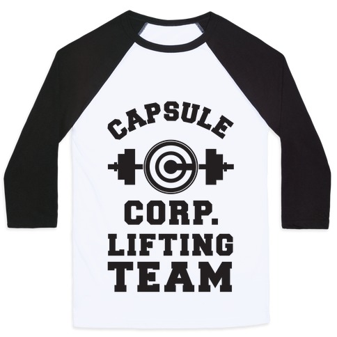 Capsule Corp. Lifting Team Baseball Tee