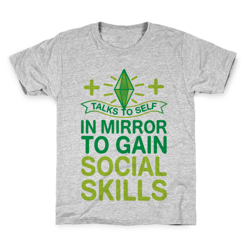 Talks To Self In Mirror To Gain Social Skills Kids T-Shirt