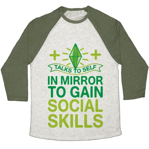 Talks To Self In Mirror To Gain Social Skills Baseball Tee