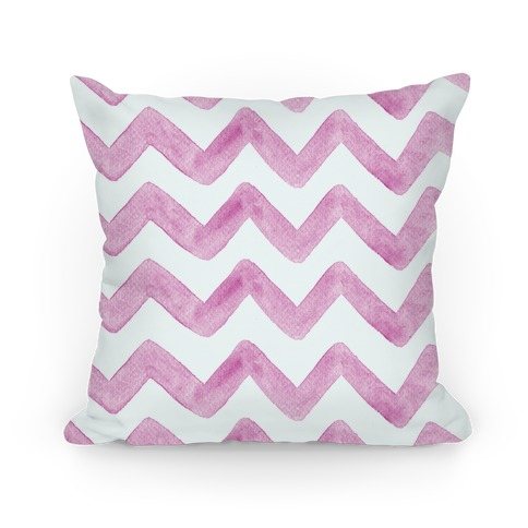 Pink Watercolor Chevron Pattern Pillow