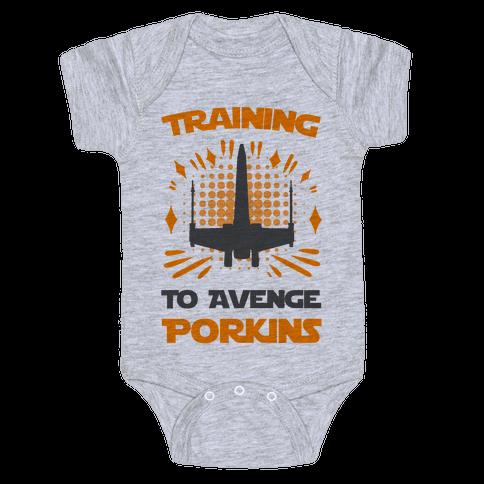 Training to Avenge Porkins Baby Onesy