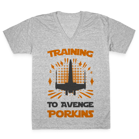 Training to Avenge Porkins V-Neck Tee Shirt