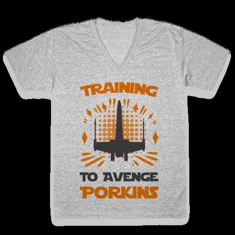 Training to Avenge Porkins V-Neck Tee Shirt