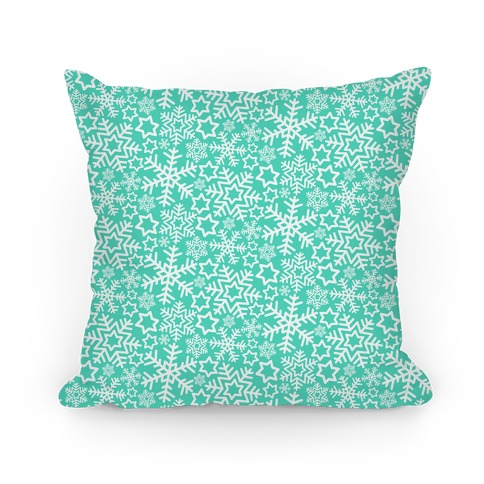 Winter Snowflakes Mint Pattern Pillow