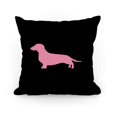 Pink Polka Dot Wiener Dog Pillow