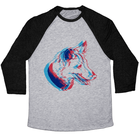 3D Dog Head Baseball Tee