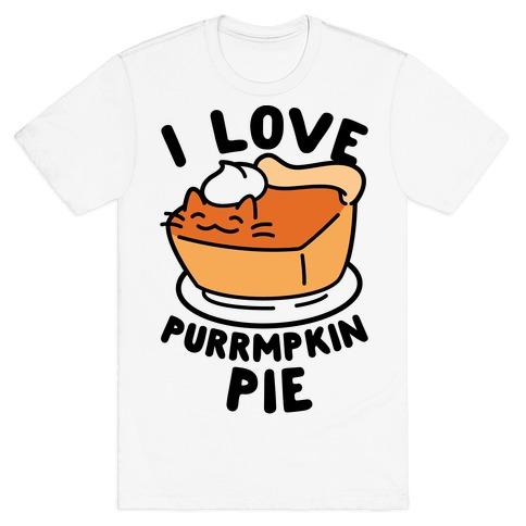 I Love Purrmpkin Pie Mens T-Shirt