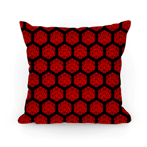 D20 Pillow (Red Dice) Pillow