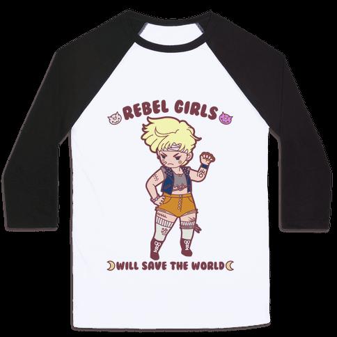 Rebel Girls Will Save The World Uranus Parody Baseball Tee