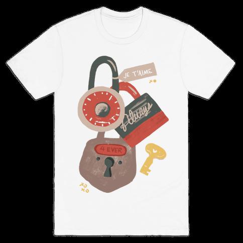 Paris Love Locks Mens T-Shirt