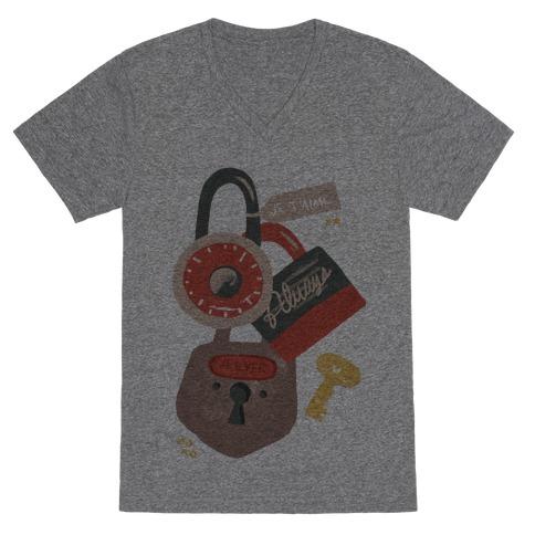 Paris Love Locks V-Neck Tee Shirt