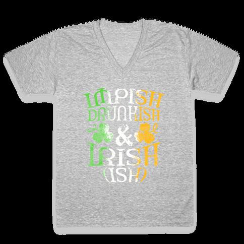 Irish ish (flag) V-Neck Tee Shirt