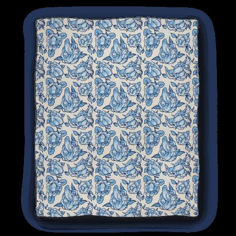 Floral Penis Pattern Blanket Blue