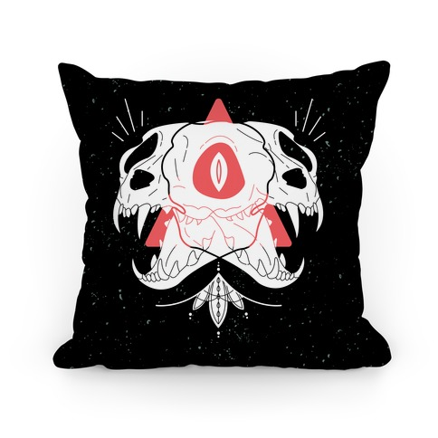 Double Cat Skulls Pillow