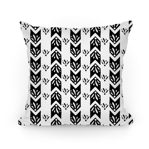 Black Floral Chevron Pattern Pillow