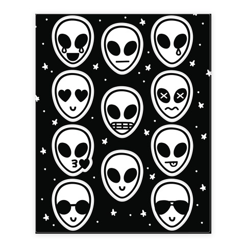 Alien Emoji Sticker and Decal Sheet