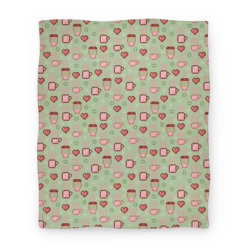 Pastel Coffee Pixel Art Pattern Blanket