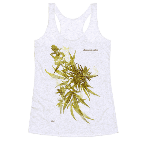 Cannabis Botanical Illustration Racerback Tank Top