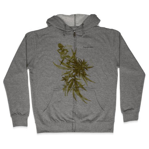 Cannabis Botanical Illustration Zip Hoodie