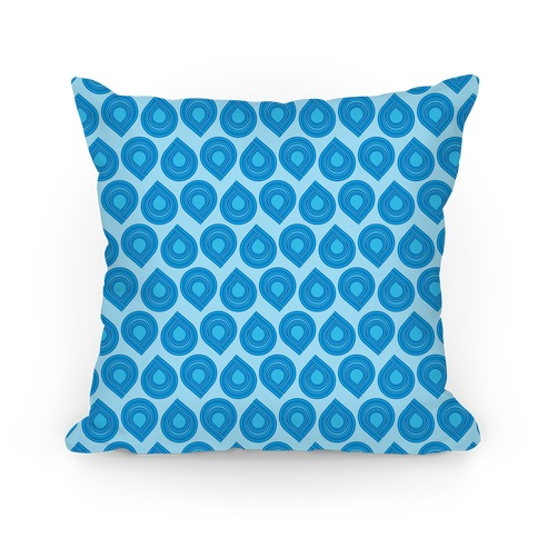 Retro Blue Tear Drop Pattern Pillow