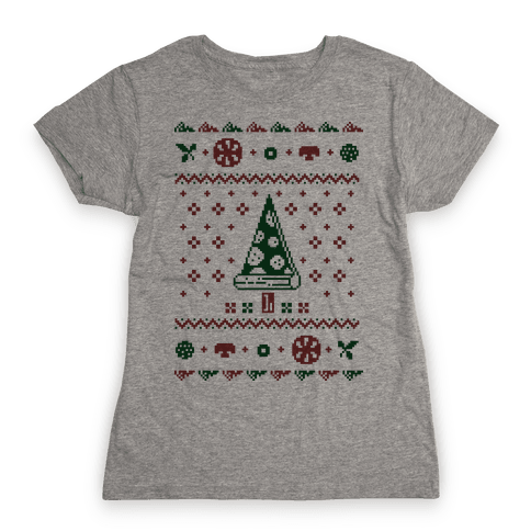 Ugly Pizza Christmas Sweater Womens T-Shirt