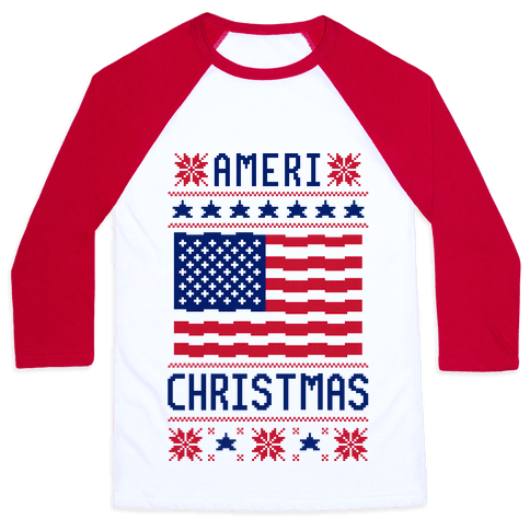 Ameri' Christmas Ugly Sweater Baseball Tee