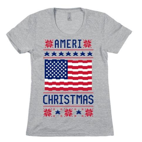 Ameri' Christmas Ugly Sweater Womens T-Shirt