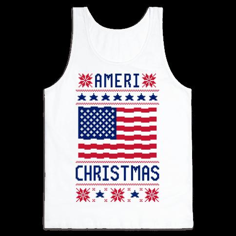 Ameri' Christmas Ugly Sweater Tank Top