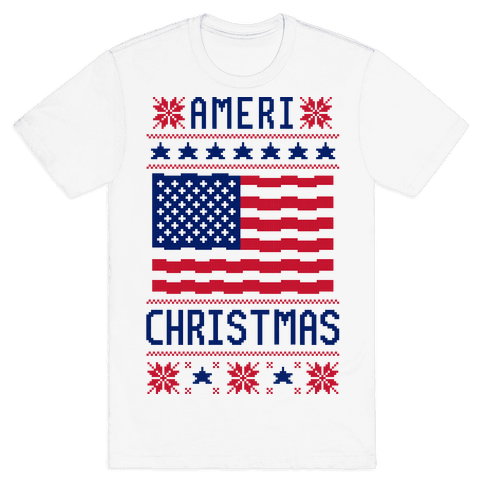 Ameri' Christmas Ugly Sweater Mens T-Shirt