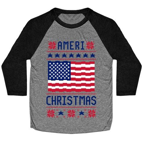 Ameri' Christmas Ugly Sweater Baseball Tee