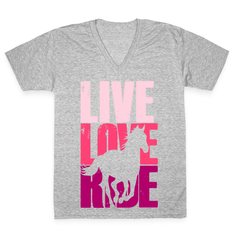 Live, Love, Ride (Horse) V-Neck Tee Shirt