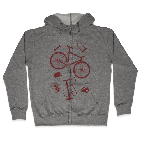 fixed gear cycling tools Zip Hoodie