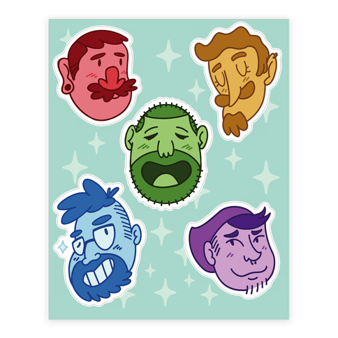 Cute Scruffy Dudes Sticker/Decal Sheet