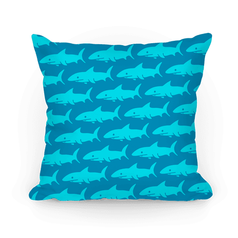 Shark Pattern Pillow (Dark Blue) Pillow