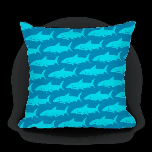 Shark Pattern Pillow (Dark Blue)