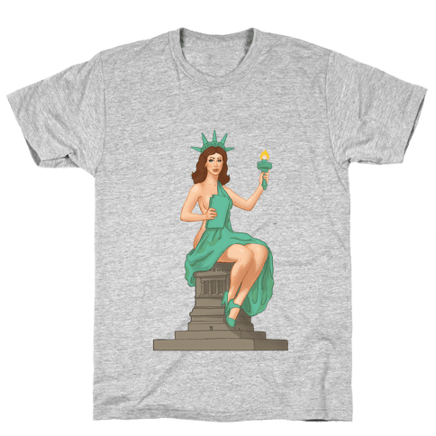 Lady Liberty Pin Up Mens T-Shirt