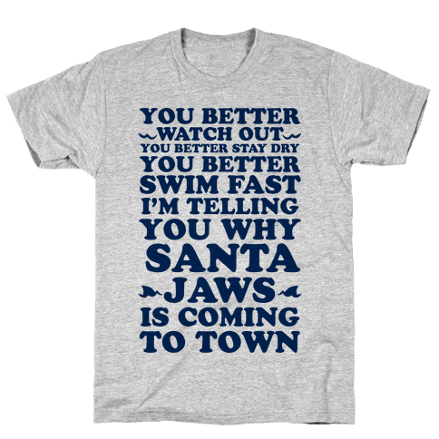 Santa Jaws Is Coming To Town Mens T-Shirt